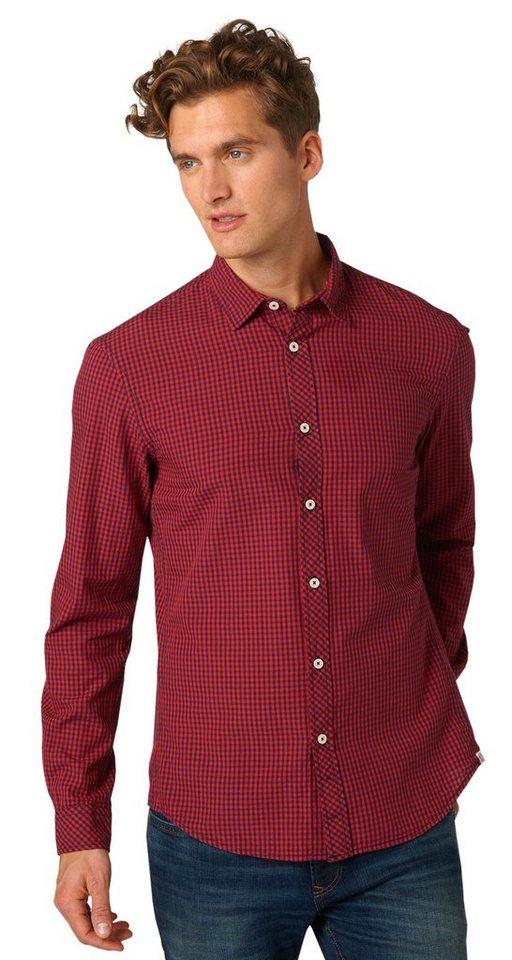 TOM TAILOR DENIM Hemd »Hemd mit Vichy-Karo« in dry flower red