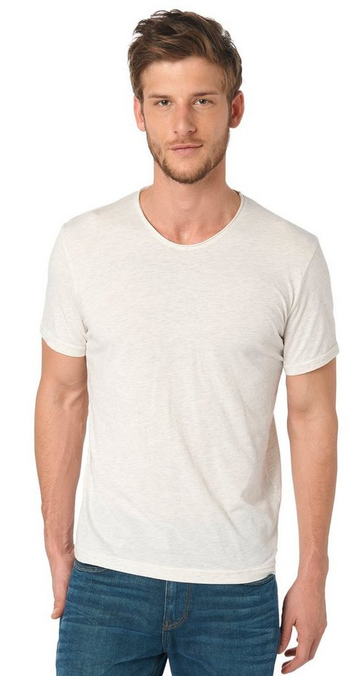 TOM TAILOR T-Shirt »T-Shirt in Melange-Optik« in gray beige melange