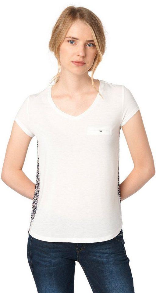 TOM TAILOR DENIM T-Shirt »feminines T-Shirt im Material-Mix« in off white