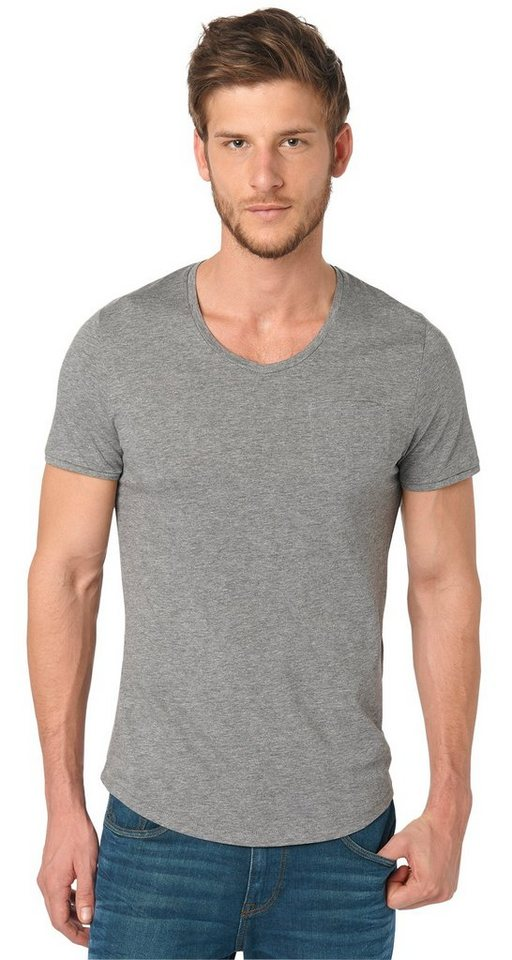 TOM TAILOR T-Shirt »Melange T-Shirt mit V-Ausschnitt« in rock mass grey melan