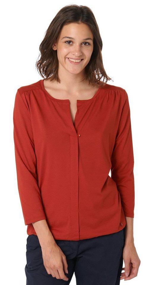 TOM TAILOR T-Shirt »Shirt in Blusen-Look« in velvet red