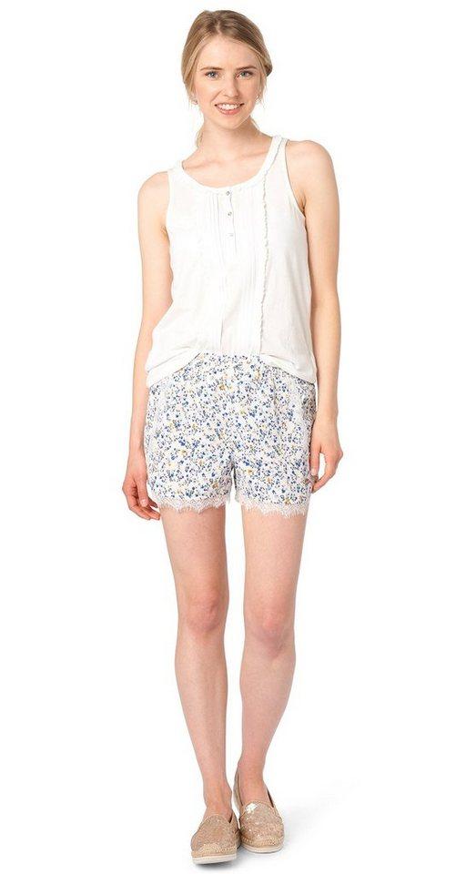 TOM TAILOR DENIM Shorts »Shorts mit Blumen-Muster« in off white