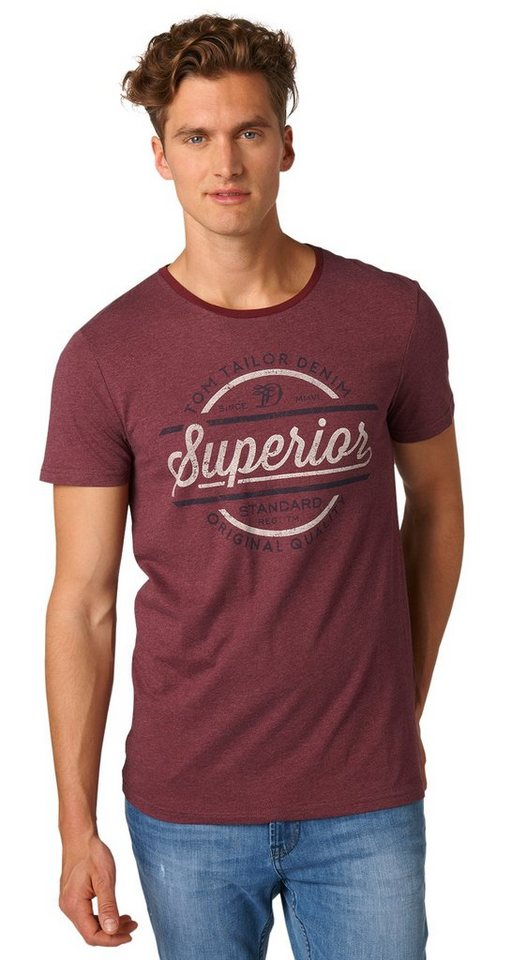 TOM TAILOR DENIM T-Shirt »T-Shirt mit Print« in deep burgundy red