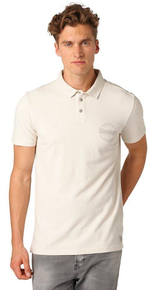 TOM TAILOR DENIM Poloshirt »Polo-Shirt mit Print« in soft beige solid