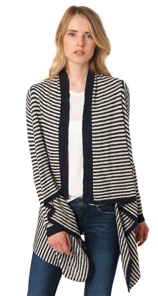 TOM TAILOR DENIM Strickjacke »gestreifter Feinstrick-Cardigan« in sky captain blue
