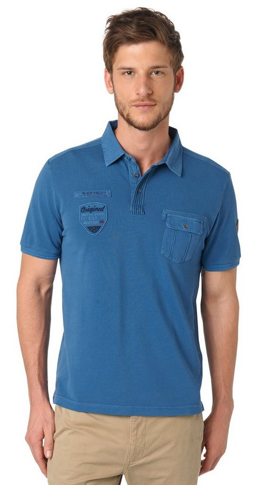 TOM TAILOR Poloshirt »Polo-Shirt mit Applikationen« in dark denim blue