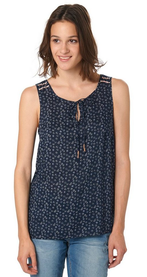 TOM TAILOR Bluse »fluent feminine top« in real navy blue