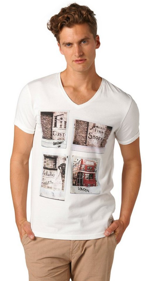 TOM TAILOR DENIM T-Shirt »Print-Shirt mit Polaroid-Motiven« in slightly creamy