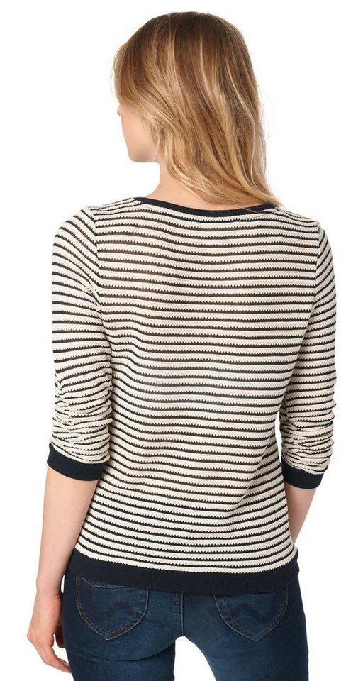 TOM TAILOR DENIM Sweatshirt »Pullover mit gerafften Arm« in off white
