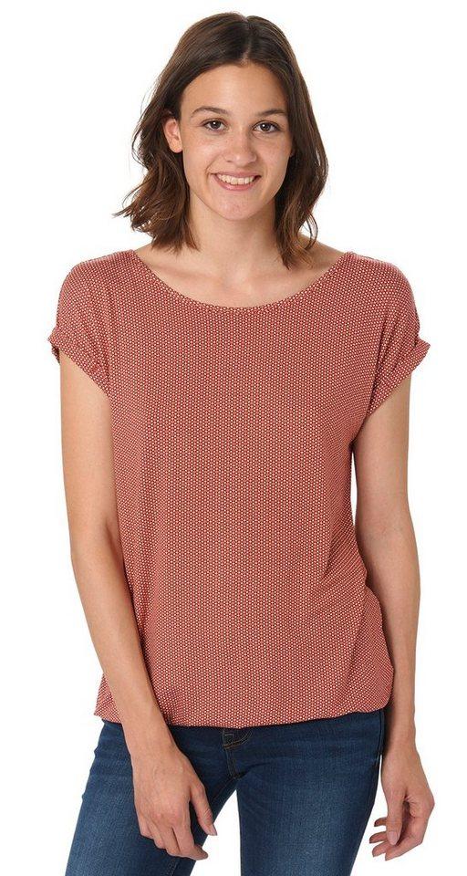 TOM TAILOR T-Shirt »T-Shirt mit Schlüsselloch-Öffnung« in velvet red