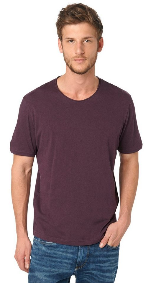 TOM TAILOR T-Shirt »T-Shirt in Melange-Optik« in winter purple melang