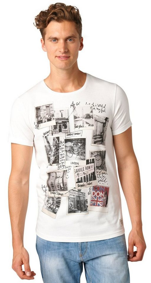 TOM TAILOR DENIM T-Shirt »T-Shirt mit London-Print« in slightly creamy