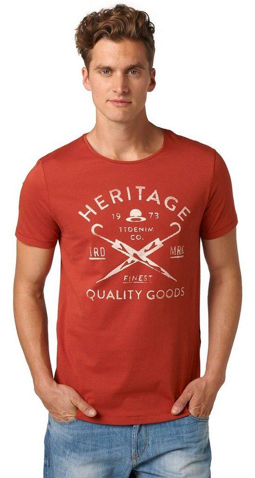 TOM TAILOR DENIM T-Shirt »Print-Shirt im Vintage-Look« in burned red slate