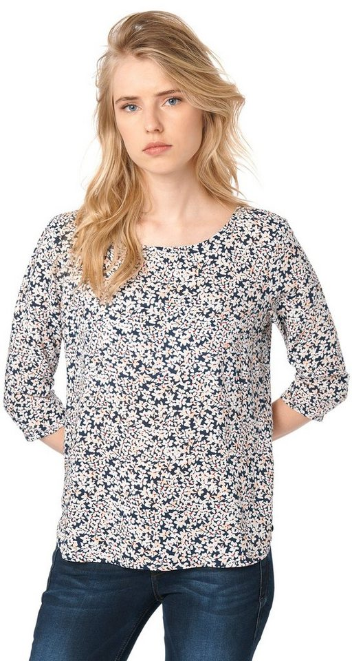 TOM TAILOR DENIM Bluse »printed tunic with zip« in sky captain blue