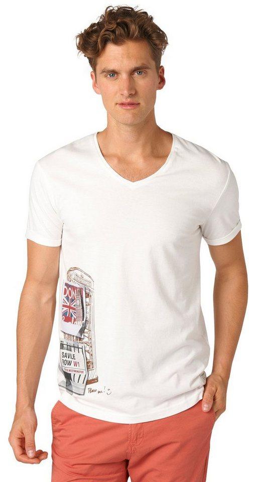 TOM TAILOR DENIM T-Shirt »T-Shirt mit London-Print« in slightly creamy