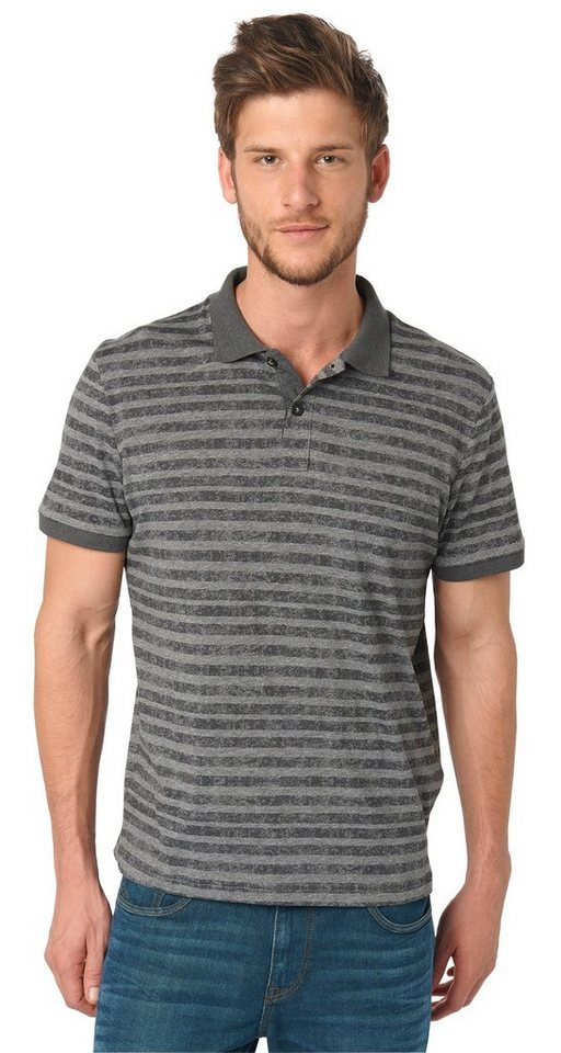 TOM TAILOR Poloshirt »gestreiftes Polo-Shirt« in tarmac grey