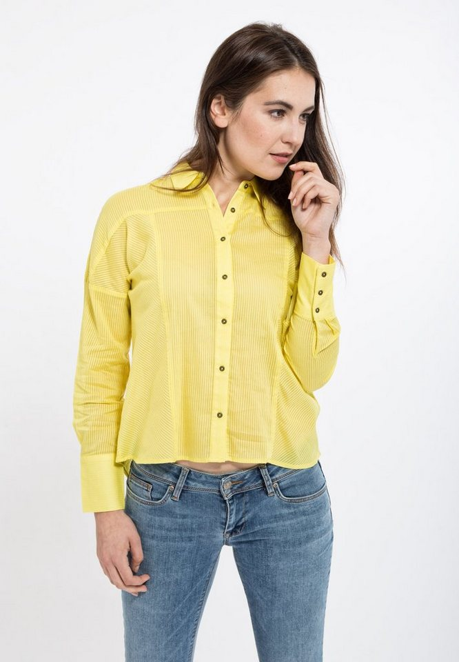 Mexx Hemdbluse in Streifen-Optik mit Manschetten in sonnengelb