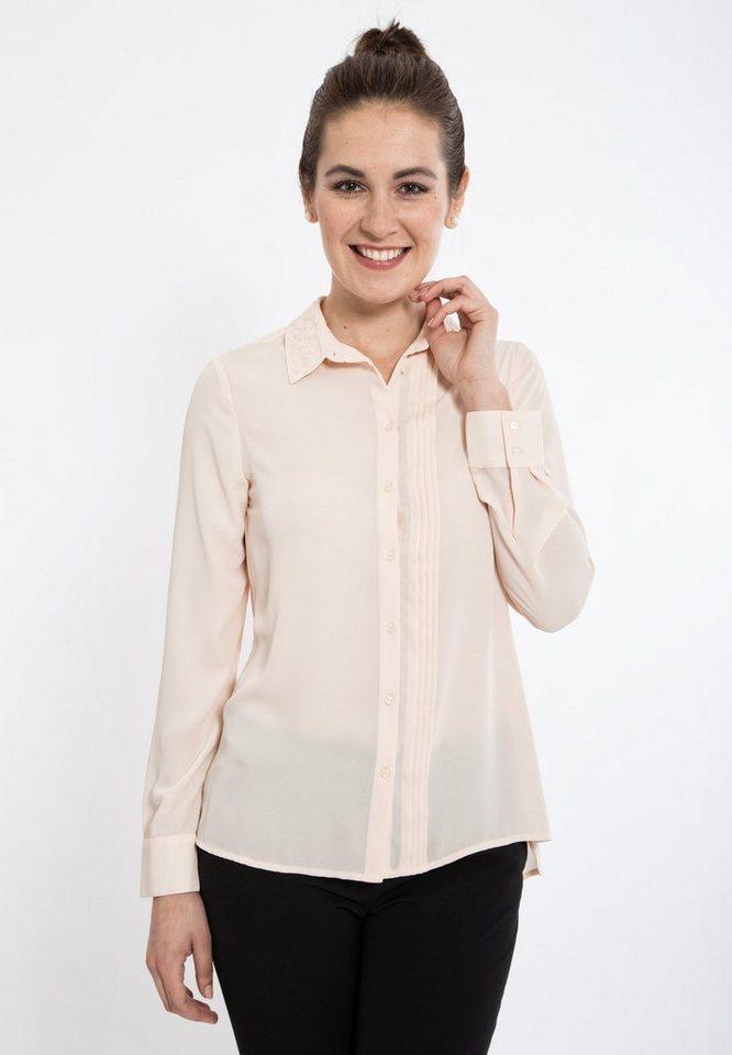 Mexx Hemdbluse mit Biesen und Stickapplikationen in rosa