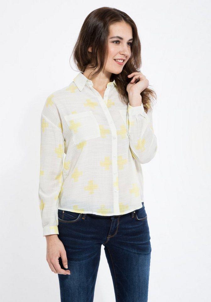 Mexx Hemdbluse verkürzt und einer Brusttasche in weiß