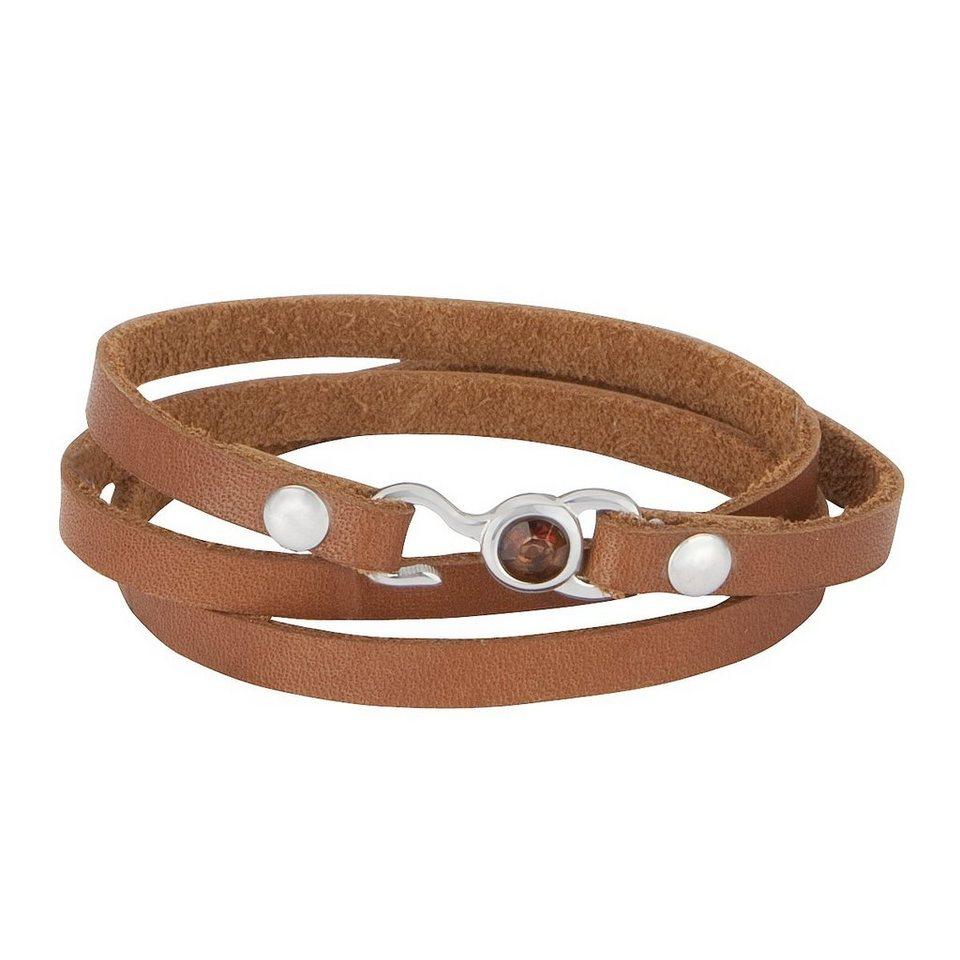 Zeeme Armband »Leder bronze mit Stahlverschluß« in braun