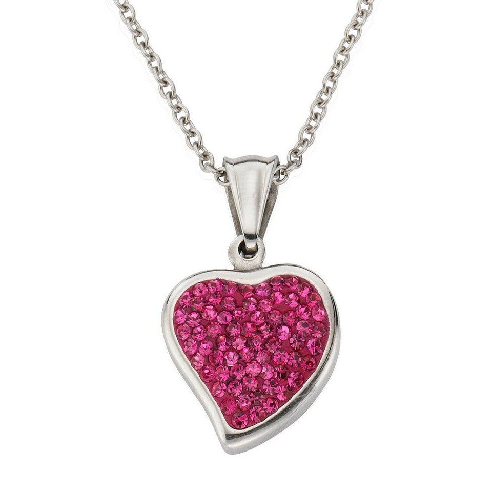 Zeeme Anhänger mit Kette »Edelstahl Kristalle rosa« in grau
