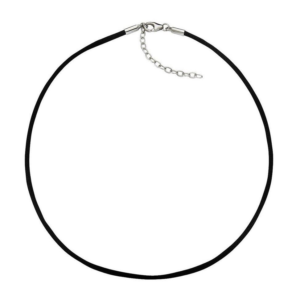 Zeeme Collier »Textilband mit 925/- Silber Verschluß« in schwarz