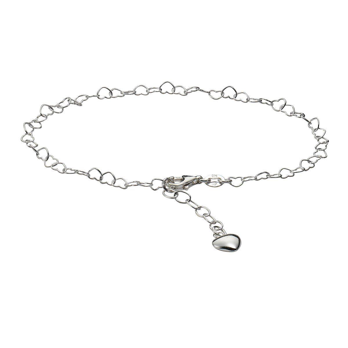 Zeeme Fußkette »925/- Sterling Silber Herzmotiv 23-26cm«