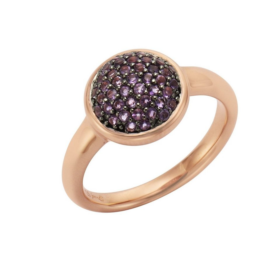 Jamelli Ring »925/- Sterling Silber rotverg. mit Amethyst« in rot