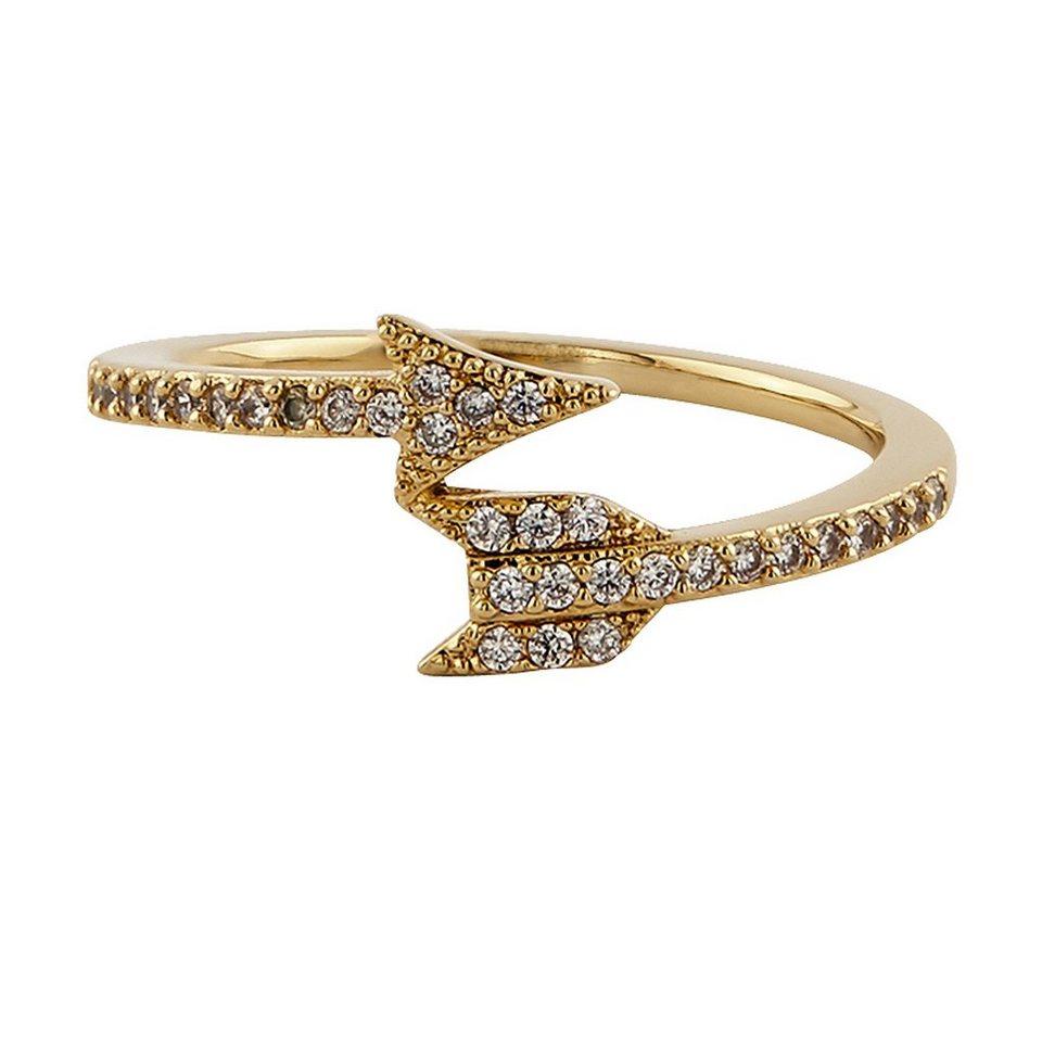 Buckley London Ring vergoldet mit Kristallen in gelb