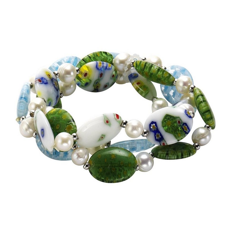 Zeeme Armband »syn. Murano Glas Perle weiß« in bunt