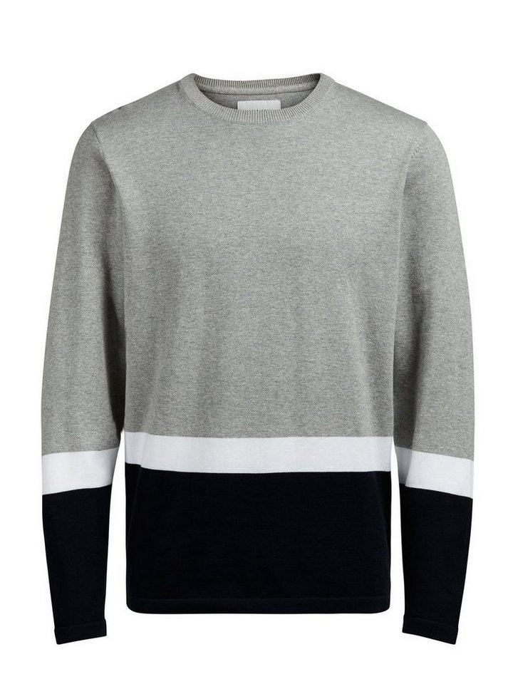 Jack & Jones Blockingstreifen- Pullover in Light Grey Melange