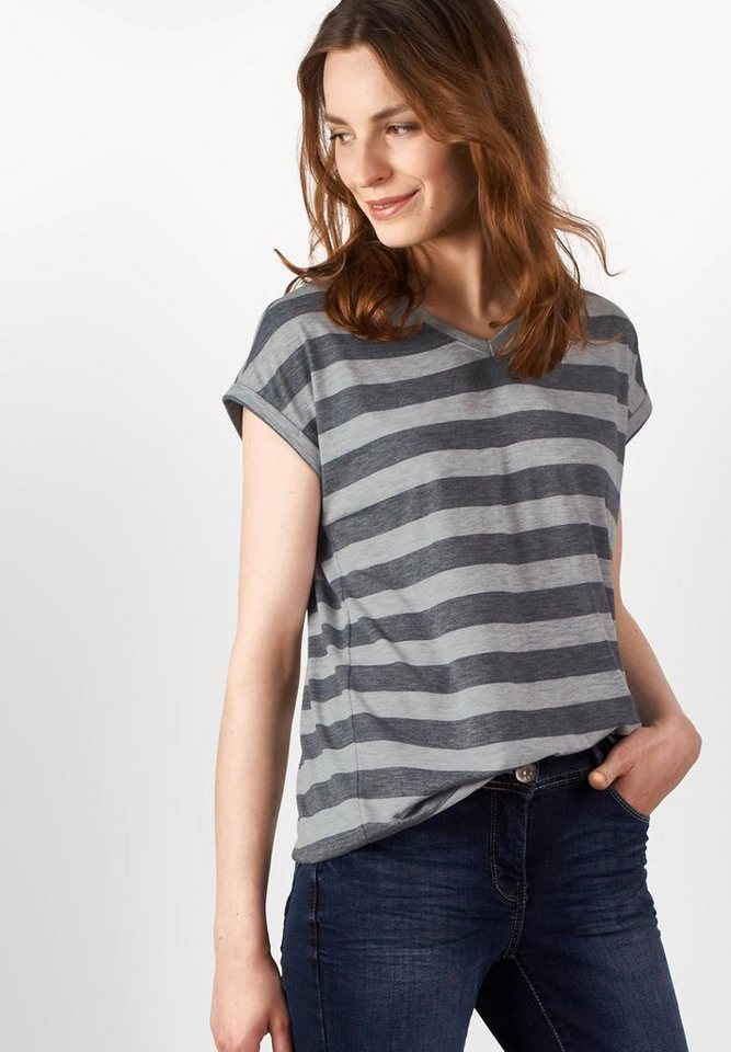 CECIL Melange-Blockstreifen Shirt in light grey melange