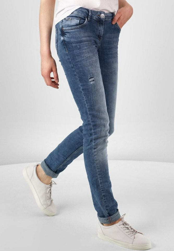 CECIL Heavy Used Denim Charlize in Authentic mid blue w
