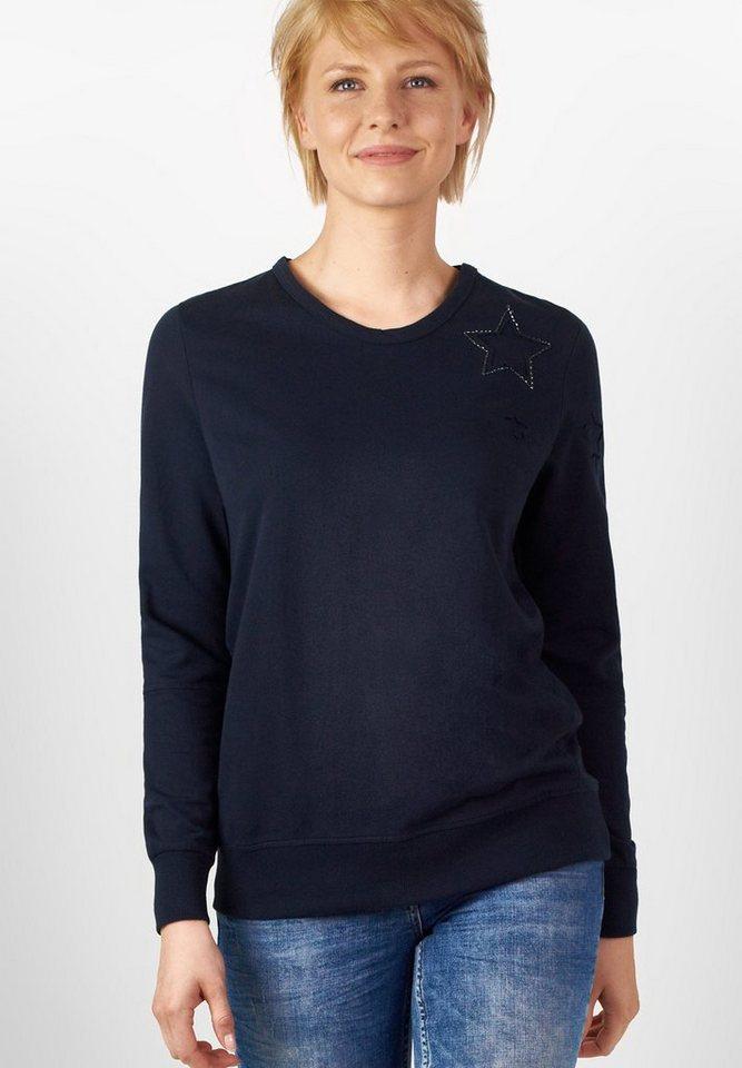CECIL Leichtes Sternen-Sweatshirt in deep blue
