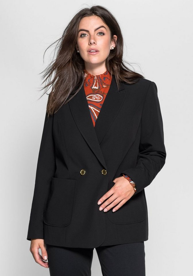 sheego Trend Oversize-Blazer in schwarz
