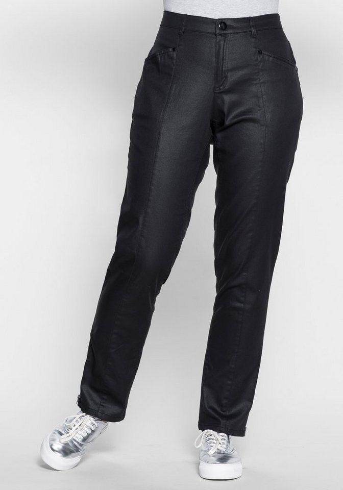 sheego Trend Gerade Stretch-Hose mit Beschichtung in schwarz