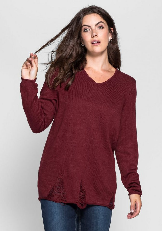 Pullover im Destroyed-Look in bordeaux