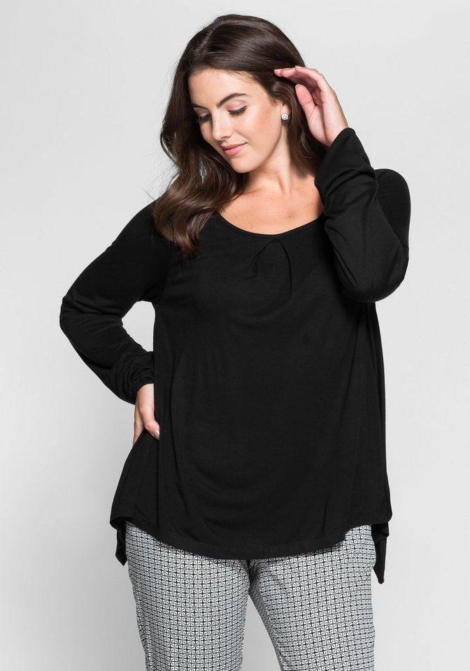 sheego Style Langarmshirt in 2-in-1-Optik in schwarz