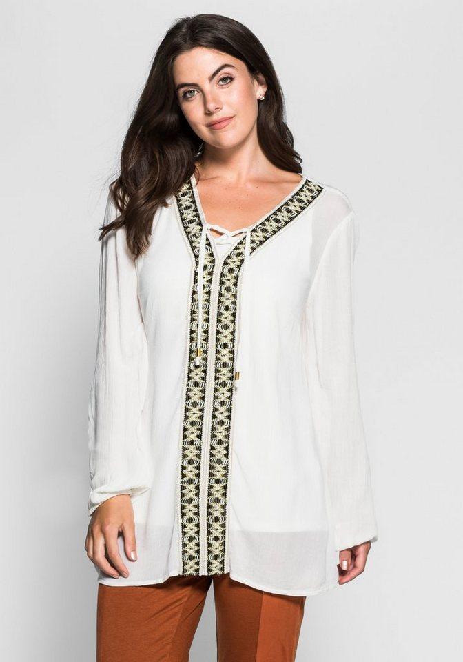 sheego Style Tunika mit Bordüre in offwhite