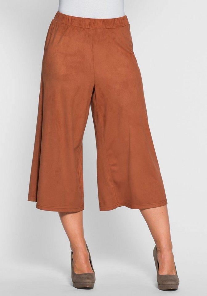 sheego Style Culotte in Veloursleder-Optik in zimt