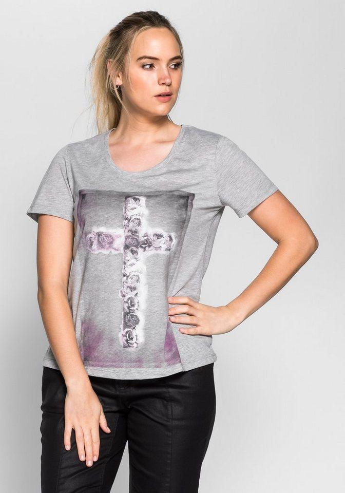 sheego Trend Print T-Shirt in grau meliert