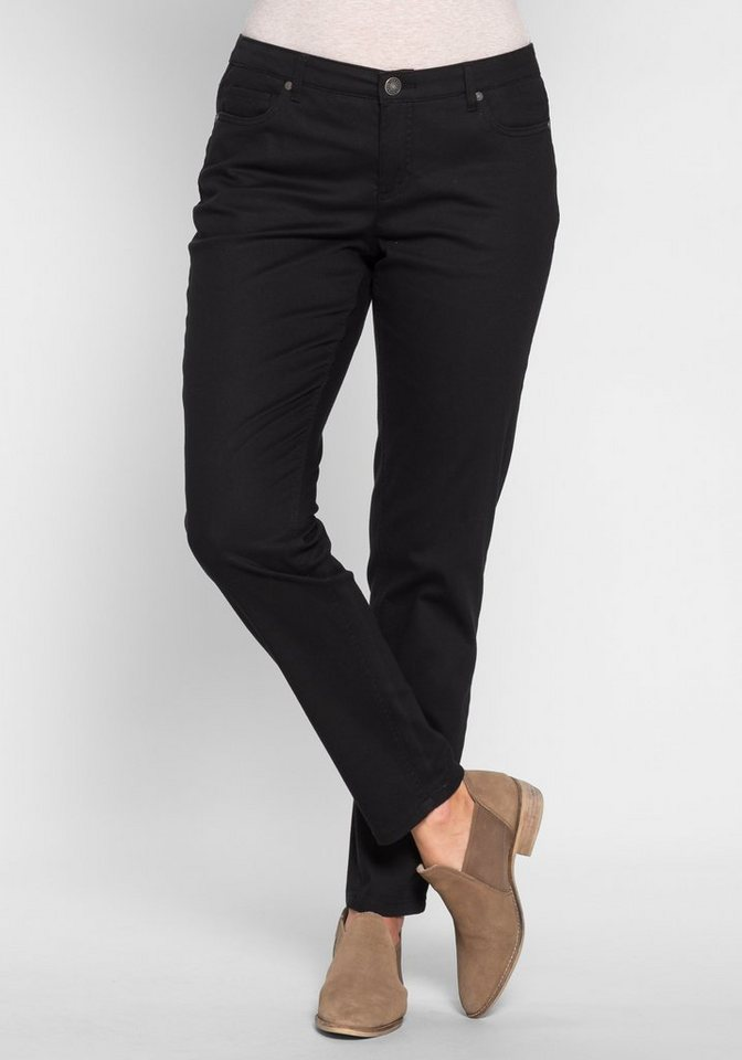 sheego Trend Schmale Stretch-Hose im Five-Pocket-Style in schwarz