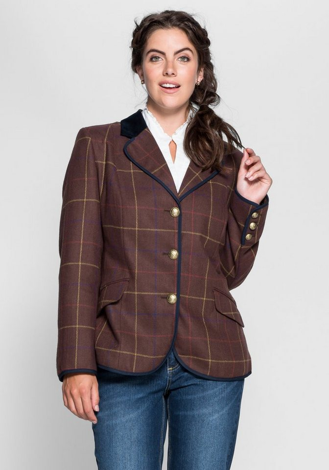 Joe Browns Tweed-Blazer in Karomuster in braun kariert