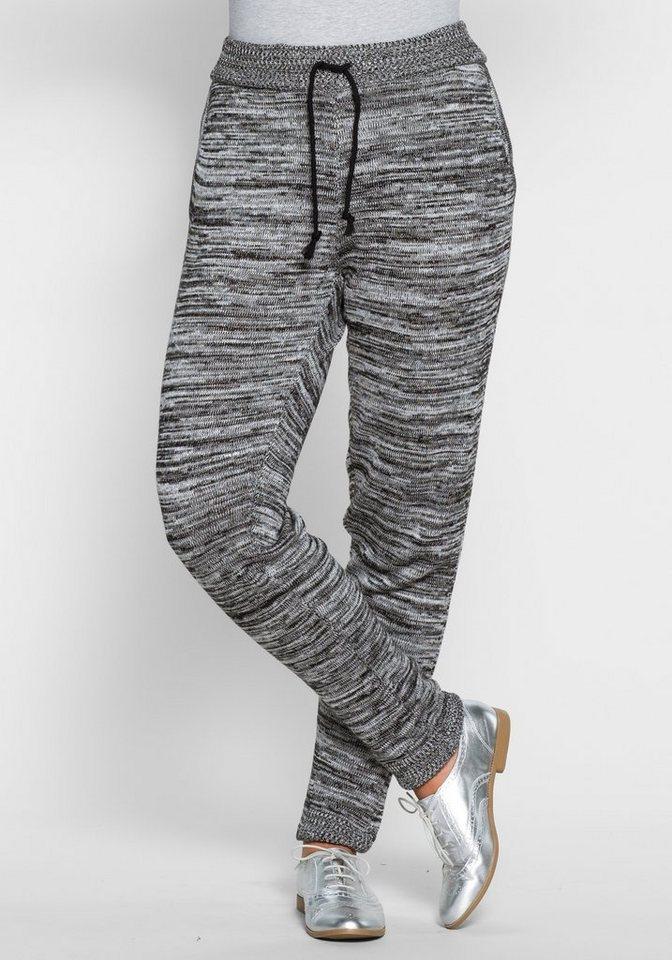 Strickhose im Jogging-Stil in schwarz-weiß