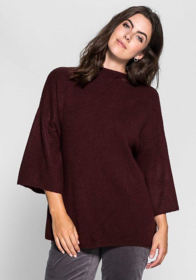 sheego Trend Pullover mit Kimono-Ärmeln in brombeer
