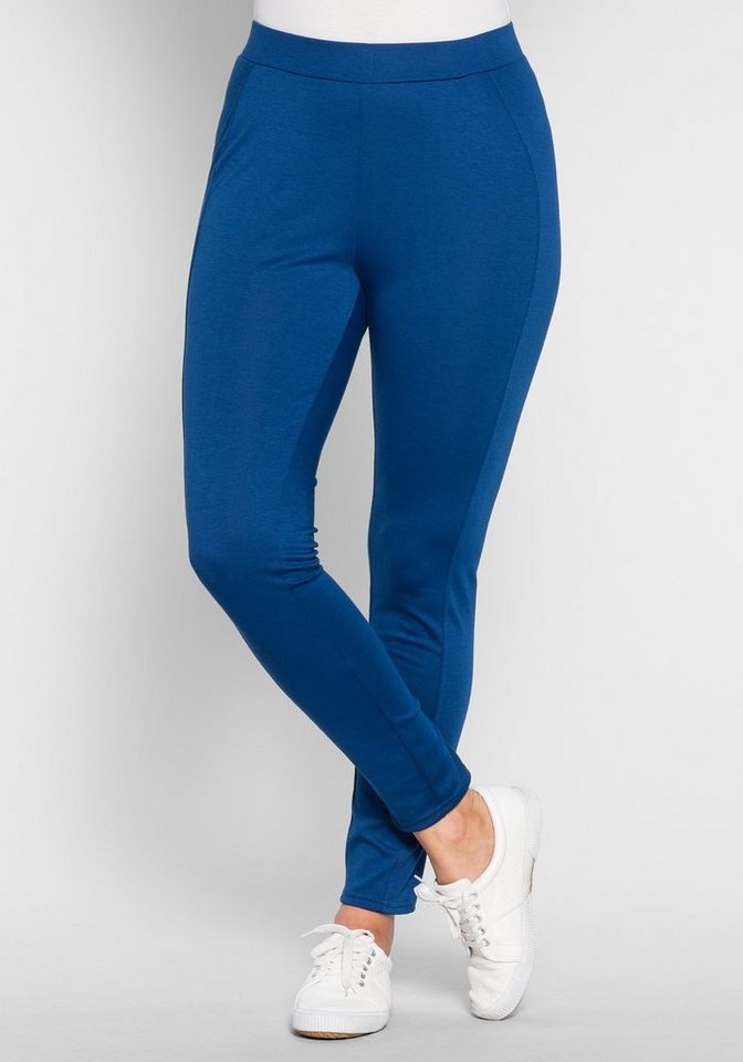sheego Casual Leggings mit Ziernähten in indigo