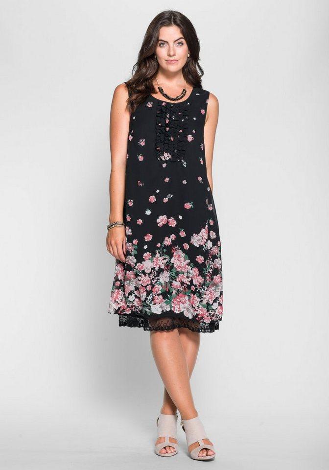 sheego Style Chiffonkleid mit Blütendruck in schwarz-rosé
