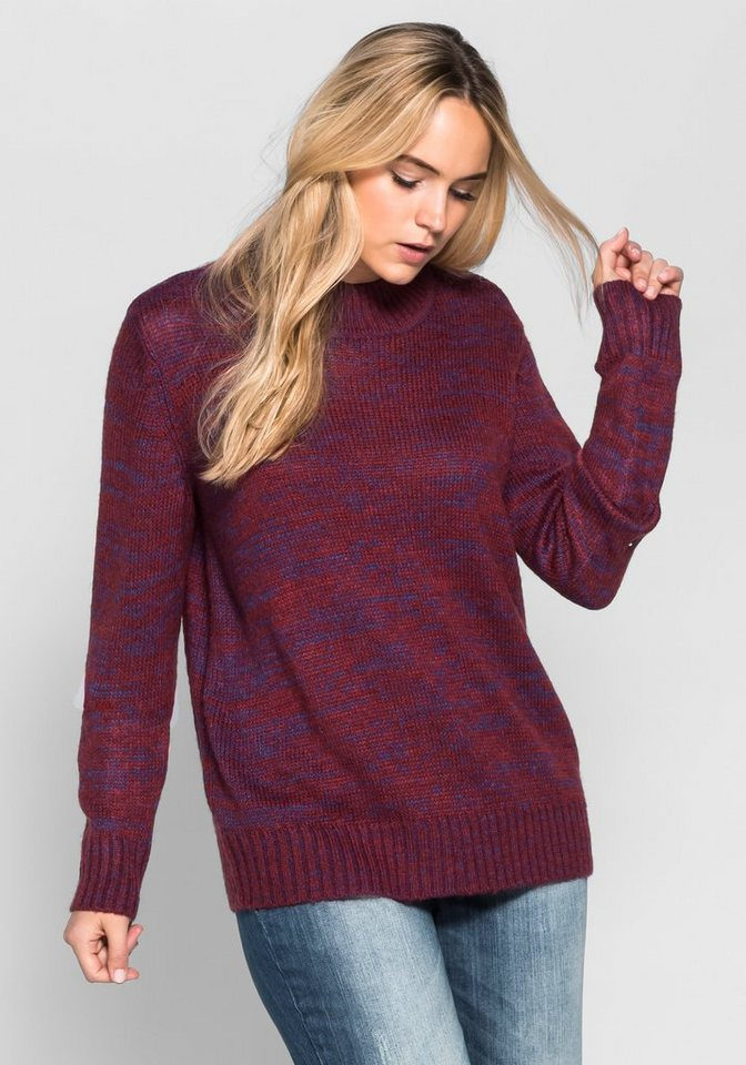 sheego Casual Pullover aus meliertem Strick in bordeaux meliert