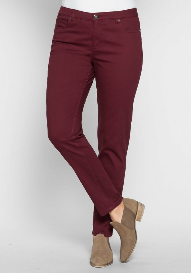 sheego Trend Schmale Stretch-Hose im Five-Pocket-Style in bordeaux