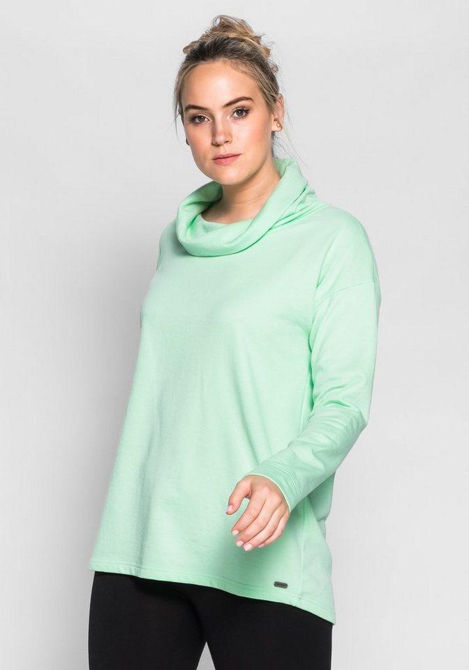 sheego Casual Sweatshirt mit Rollkragen in pudergrün